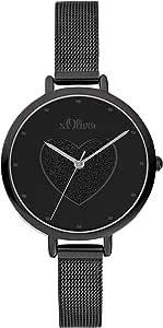 s.Oliver 女式模拟石英手表不锈钢表带 SO-3834-MQ