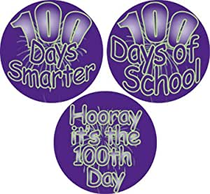 Ace Label 12089C Assorted '100 Days' Teacher School Stickers, 2-1/2-Inch, Purple/Green, Roll of 100