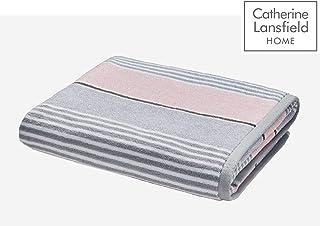 Catherine Lansfield 纹理条纹浴巾粉色