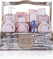 Accentra 礼品套装 Secret Garden 浴室和淋浴套装 含白茶和杏仁香味 - 8 件礼品套装