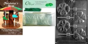 "Cybrtrayd""Shamrock Lolly"" Chocolate Mold with Chocolatier's Bundle, Includes 50 Sticks, 50 Cello Bags, 50 Green Twist Ties and Chocolatier's Guide"