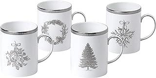 Wedgwood 40032853 冬季白色4件套马克杯,3.9 高 x 4.3 宽 白色 3.9 H x 4.3 W 40032853