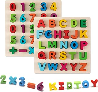 Jamohom 木制字母数字拼图套装教育玩具 适合 1 2 3 岁儿童 alphabet &number