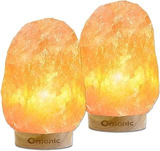 2 件装喜马拉雅盐灯夜灯粉色水晶手工雕刻海马琳摇滚台灯(5-8 磅,6.5-10 英寸),带真正的泰国橡胶底座,可调光开关控制(含 4 个灯泡)