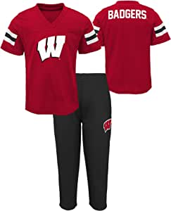 Gen 2 NCAA Wisconsin Badgers 新生婴儿训练野营上衣和短裤套装,24 个月,深红色