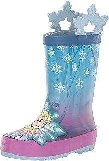 Western Chief 女童冰雪奇缘 2 Anna 和 Elsa 防水雨靴,带雪花手柄