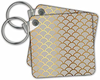 3dRose 别致仿金轮廓美人鱼浅粉色扇贝图案钥匙链 (kc_283158_1)