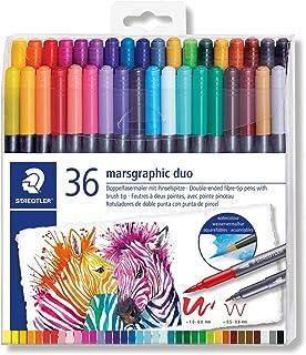 Staedtler 3001 TB36 ST 双头纤维笔 marsgraphic duo(细笔尖和画笔笔尖,水彩效果,透明折叠盒,36种亮丽颜色)