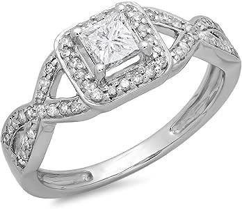 0.80 Carat (ctw) 14K White Gold Princess & Round Diamond Ladies Swirl Bridal Halo Style Engagement Ring 3/4 CT (Size 9)