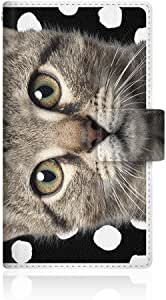 NYAGO x CaseMarket 【手册式】 SH-02F AQUOS PHONE EX 皮革 细长 壳 针脚样式 [NYAGO 派克犬 喵酱 ] 笔记本 超薄 彩色 圆点 日记本] 皮革手册 2016 NEW 针脚 & 挂绳孔SH-02F-VCM2S2284 黑色