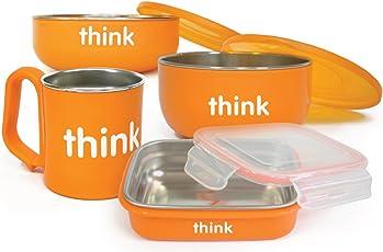 ThinkBaby 辛克宝贝 不含BPA餐具套装,橙色,适合6个月儿童