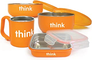 [自营]美国进口-Thinkbaby 辛克宝贝 不锈钢儿童餐具4件套(饭盒,汤碗,餐碗,水杯)橙色