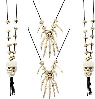 Hicarer 4 件万圣节项链骷髅骨骨架吊坠项链万圣节角色扮演服装项链女士男士派对珠宝配件(骷髅骨架风格)