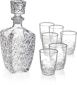 Bormioli Rocco Dedalo Whiskey 礼品套装 - 精致的 67.25 盎司钻石熔断器和 6 蚀刻 228.75 克独角玻璃杯带闪发光的星型切割细节 - 适用于 Whiskey、Bourbon、Scotch 和Liquor