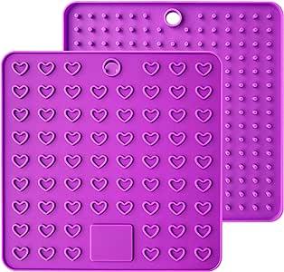AINAAN 2 件硅胶锅垫方形优质硅胶锅架,三脚架,热手套,耐热热热垫 紫色 7.28 Inch Silicone pad