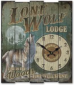 American Expedition Lone Wolf Lodge-Wolf 木质时钟,大号,多色