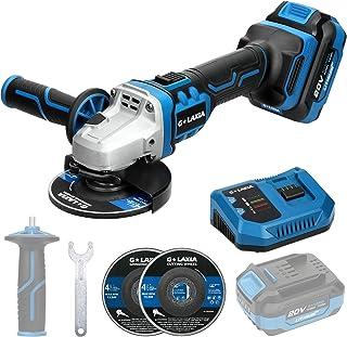 G LAXIA 20V 无刷专业角磨机 5/8英寸(约1.59厘米)带4.0Ah锂电池和快速充电器,8000RPM,双位可调辅助手柄,2个砂轮