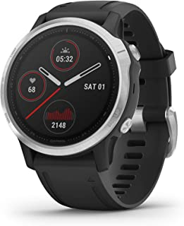 GARMIN 佳明 fēnix6S,Ultimate Multisport GPS手表,小巧,受热和海拔可调整的V02 Max,Pulse Ox 血氧感测和训练负荷关注,银色带黑色表带