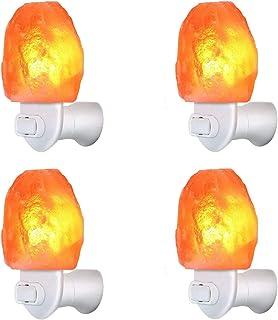 4 件装喜马拉雅盐石夜灯粉红色盐灯,手工渴望的天然盐石,*认证墙插E12底座,琥珀白灯用于环境照明,装饰,瑜伽,