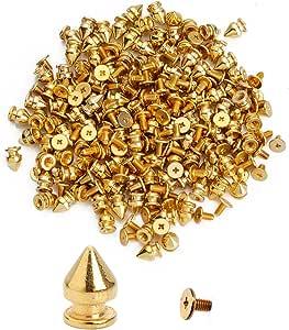 100 个锥形尖钉螺丝回旋螺柱 DIY 工艺冷铆钉朋克柱形风格 Flashing Golden Edge Coincal Layer 7x10mm 100pcs PS-ECL710G-100