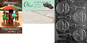 Cybrtrayd Happy Chanukah Candle Lolly Chocolate Candy Mold with 25 4.5-Inch Lollipop Sticks and Chocolatier's Guide