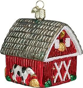 Old World 圣诞节吹制装饰品,S 型挂钩,礼品盒,房子系列 Barn 20014