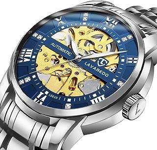 男式手表奢华机械不锈钢骨架防水自动上链罗马数字钻石表盘腕表