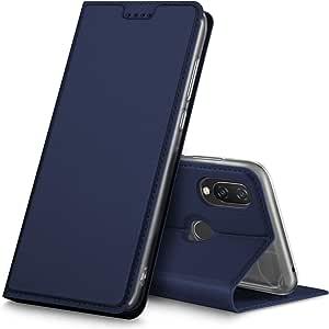 华为 Nova 3i 手机壳,KuGi Huawei Nova 3i 手机壳,超薄 DD 风格 PU 外壳 + TPU 后支架保护套适用于新款 3i 智能手机 *蓝
