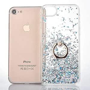 兼容苹果 iPhone 6 iPhone 6S 手机壳,ANERNAI Quicksand 超薄液体闪光闪耀保护环支架防滑防刮手机壳 Apple iPhone 6 iPhone 6S 钻石白色