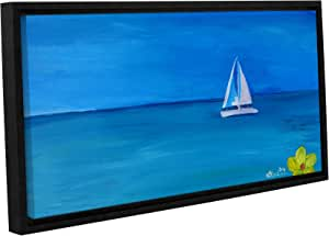 "Tremont Hill Marcus/Martina Bleichner ""在加勒比海的一艘白船上帆""可移除墙壁艺术壁画 蓝色 24X48"" 0ble203a2448p"
