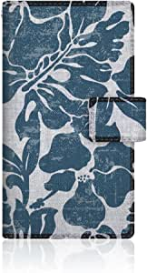 CaseMarket 【手册式】 SHL21 AQUOS PHONE SERIE 皮革 细长 壳 针脚模型 [热带植物 大溪地图案 蒙斯特拉 & 扶桑花] 皮革手册 2016 NEW 针脚 & 挂绳孔SHL21-VCM2S2133 蓝色