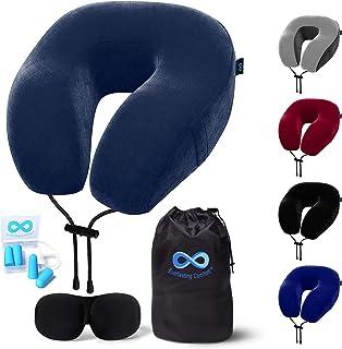 Everlasting 舒适旅行枕 - * 纯*海绵颈枕 - 包括眼罩和耳塞 *蓝 标准 Travel Pillow
