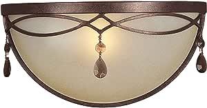 Forte Lighting 5596-01-27 传统单灯壁灯带阴影琥珀玻璃,黑樱桃色表面