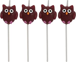 Creative Converting 4 Count Molded Pick Sets Birthday Cake Candles, Owls, Brown