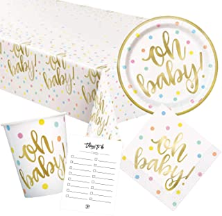 Oh Baby 主题纸餐具盘,午餐餐巾,杯子,桌布和婴儿洗礼时使用的物品展示派对装饰用品 - 16人份