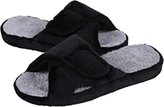 可调节家居拖鞋带足弓支撑露趾毛绒拖鞋凉鞋更新黑色 35