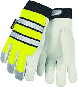 Memphis Glove 968L Luminator Grain Goatskin Leather High Visibility Men's Gloves with Adjustable Wrist Closure, Lime Green/White, Large, 1-Pair