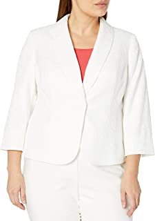 Kasper 女式 3/4 袖纹理提花 1 粒扣披肩领荷叶边夹克