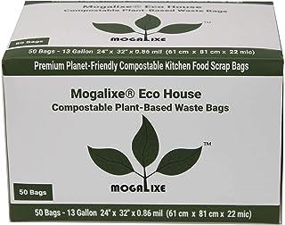 MOGALIXE 100% 可堆肥垃圾袋,植物基,超厚,13加仑(约368.5升),数50,家用和工业堆肥认证,*高 ASTM D6400 评级。