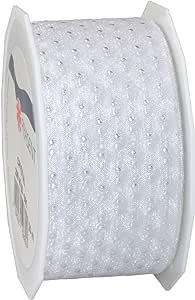 Morex 丝带水晶透明金属圆点丝带,3.81 x 55.88 厘米线轴 白色 1-1/2 by 22-Inch Yard Spool 20940/20-601