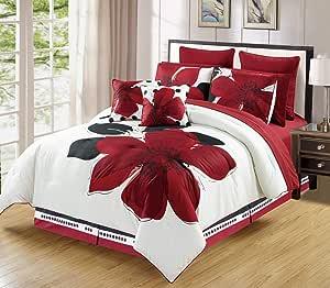 Burgundy 红色黑色白色花卉被子套装 Bed-in-a-bag 和羽绒被套装 单人床、普通双人床、大号双人床、大号双人床、大号双人床和加州大号双人床尺寸 床上用品+床单 + 特色枕头 红色 King