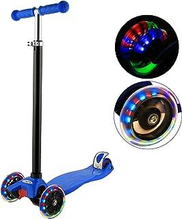 Hikole 3 轮滑板车 适合 3 岁以上儿童 倾斜转向 LED 发光 PU 轮 可折叠 儿童滑板车 高度可调节 轻便结构