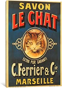 iCanvasART VAC115-1PC3-18x12 Savon Le Chat Canvas Print by Vintage Apple Collection, 18 by 12-Inch, 0.75-Inch Deep