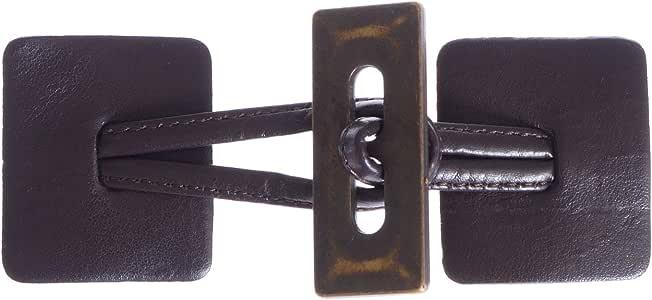 Mibo 缝制人造皮革标签封口方形棕色标签带古铜色矩形开关(1 件) Brown/Antique Brass ZZC_MIB_MIB3690_BRNAB