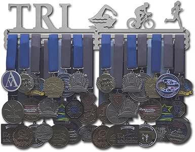 Allied Medal Hangers 铁人三项人物 - 男人或女性人物 - 多种尺寸可选 - 金属支架展示架