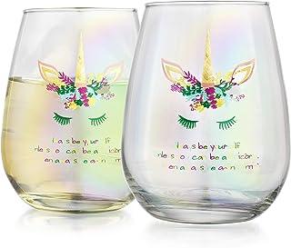 Elegant Home 个性化礼物套装 两件 48.26 克。 Stemless *杯 - 独特新颖 - 恶作剧礼品。 (独角兽)