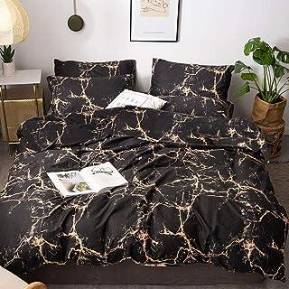 karever 白色和黑色大理石棉被套装大理石床上用品套装 3 件 金色大理石 King(104''* 90'') KC001