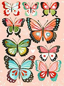 Wheatpaste Art Collective Canvas Wall Art Pink Butterflies by Katie Daisy, 18 by 24-Inch