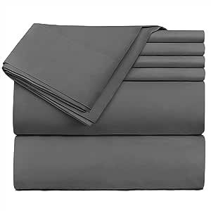 Hearth & Harbor 床上用品 6 件套 - 超深口袋床笠,适合 45.72-60.96 厘米厚的床垫。 灰色 Split King vend_harbor-216PC-SK-Gray