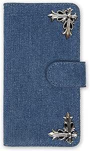 whitenuts 保护壳 手册式 十字 装饰 牛仔布WN-OD056051 5_ ARROWS Kiss F-03D 浅蓝色